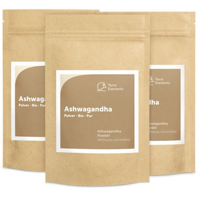Bio Ashwagandha Pulver, 100 g, 3er Pack