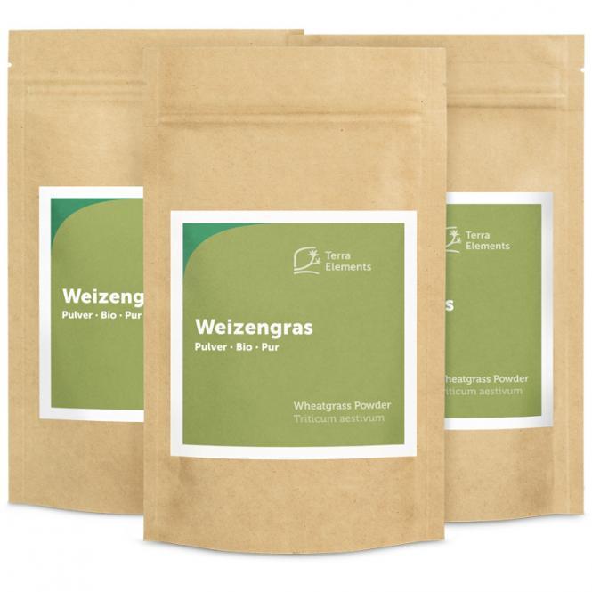 Bio Weizengras Pulver, 125 g, 3er Pack